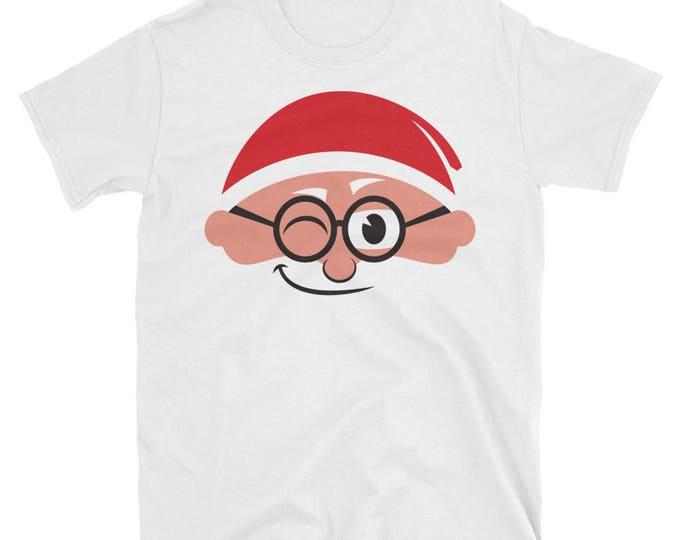 Santa Face Short-Sleeve Unisex T-Shirt. shirt, tshirt, tee, gift, christmas, santa claus, happy, smiling, blinking, head, beard, portrait