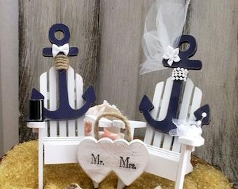 Nautical Wedding Cake Topper, Anchor Wedding Cake Topper, Adirondack Chair, Beach Wedding, Wedding Cake Topper, Beach Chair, Coastal Wedding