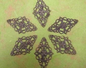 10pcs 50mm antique bronze filigree wraps -S400