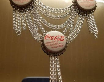 Replica Coca Cola Bottle Cap Necklace (Confessions Of A Teenage Drama Queen) RED or SILVER CAPS