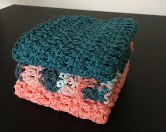 Three handmade dishcloths // crochet dishcloths // hand knit dish cloths // crochet dishcloth // dish towel