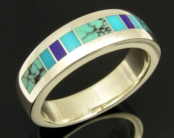 Man's sterling silver ring inlaid with spiderweb turquoise, lapis and turquoise.