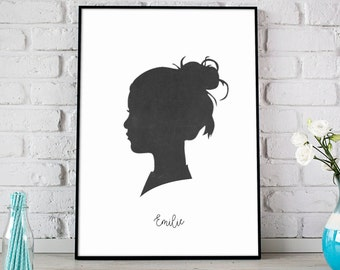Profile Silhouette, Custom Silhouette from your photo, Silhouette Art, Kid Silhouette Portrait, Birthday Gift, Father's Day Gift