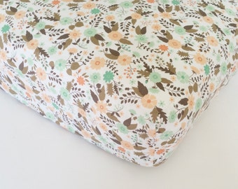 Baby Girl Baby Bedding - Fitted Baby Sheet / Changing Pad Covers / Peach Green Baby Bedding / Mini Crib Sheets / Peach Crib Sheets /
