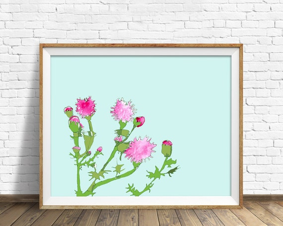 Pink Thistle Patch - drawing, botanical, art print, large art, large wall art, wall art prints, fine art prints, modern, contemporary, blue