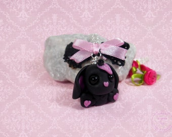 Bunny necklace polymer clay chain pendant jewelry kawaii bunny handmade
