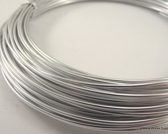 Silver Anodized Aluminum Wire, 14 gauge, 1.5 mm round, 45 foot coil