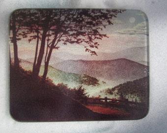 Vintage Counter Tray, Serene, Landscape Deco, Glass Tray, Vintage Landscape Glass Cutting Board Tray