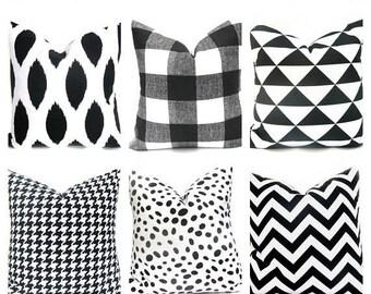 15% Off Sale Black Pillow, Black Pillow Cover, Black Pillows, Black Throw Pillow, Black Accent pillow, Decorative Pillow, Buffalo Check Pill