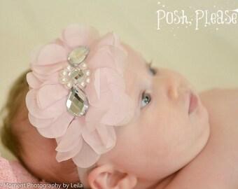 Newborn Infant Headband Pink Chiffon Headband Trendy Baby Headband Coming Home Headband Newborn Girl Take Home Outfit Infant Headband
