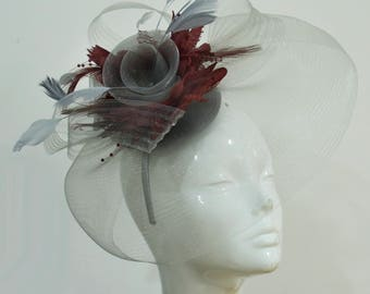 Grey Silver and Burgundy Fascinator on Headband Veil UK Wedding Ascot Races Hatinator