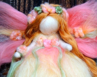 The Buttercup Fairy -   Needle felted soft sculpture - Waldorf Inspired by Rebecca Varon