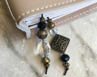 BEADED BOOKMARK for Travelers Notebooks | Planners | Journals | Books BLACK antique gold  crystal