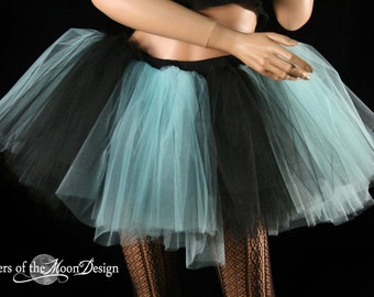 Monster Black and aqua tutu skirt adult petticoat race run roller derby dance club wear costume gothic -You Choose Size- Sisters of the Moon