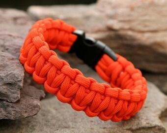 Paracord Survival Bracelet - Neon Orange