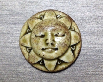 Sunshine Face Ceramic Cabochon Stone in Earthy Green