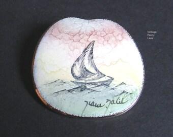 Vintage Handmade Enamel Pin / Brooch, Sailboat / Nautical / Ship
