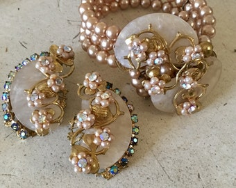 Vintage Memory Bracelet and Lovely Matching Clip Back Earrings.Haskelesque.