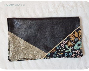 Black, cotton suede checkbook with stylized flowers and glitter gold, wallet, checkbook storage