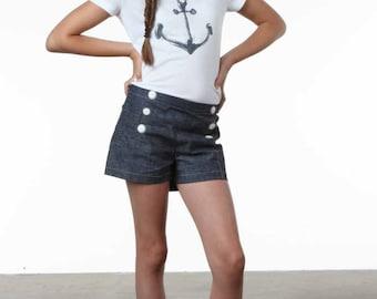 Tween Shorts sewing pattern, digital shorts pattern, pdf sewing pattern, pdf shorts pattern, kids shorts, Button front shorts, sailor shorts