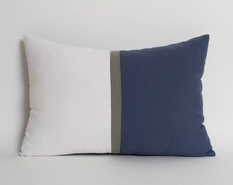 Navy Blue & White Colorblock Pillow Cover CUSTOM SIZE Decorative Throw Pillows Navy White Gray Pillow Home And Living Navy Linen Pillows