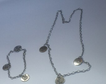 Silver fortune necklace and bracelet - charms on chain