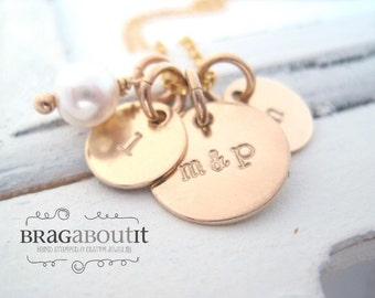 Personalized Hand Stamped Necklace . Personalized Jewelry . Brag About It . 14K Gold Filled . Family Initials