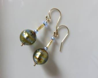 Bi color Venetian Murano glass  earrings -- 14K gold filled  -- Venetian glass earrings