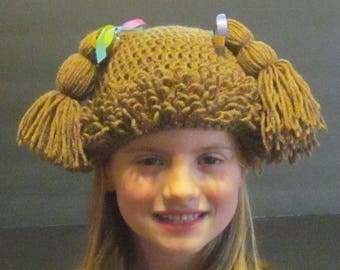Cabbage Patch Hat ~ Size Small ~ Light brown with multi colored ribbon