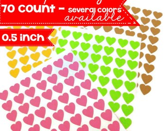 Heart Sticker - Choose Your Color - Mini Heart Stickers - Sample Size - 70 Count - Valentines Sticker - Envelope Seal - 0.50 inch