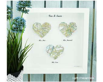 We met We married We Live. Heart Map Print. Wedding Gift. Anniversary Gift. Engagement gift. Paper Anniversary gift. Valentines for him her