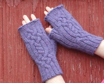 fingerless gloves with Celtic cables, texting gloves, alpaca fingerless gloves, wool fingerless gloves hand made in usa, Saxon braid /ready