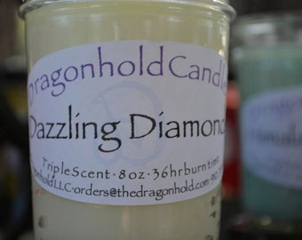 Dazzling Diamonds Candle: Hand Poured, Triple Scented Soy-Paraffin Candle