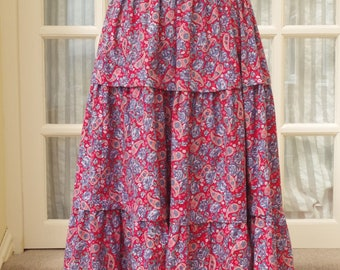 Laura Ashley Skirt 1980s Red Floral Size UK12 EU38 US10