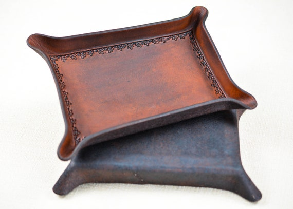 Floral Border Leather Dresser Tray Tooled in Full Grain Leather