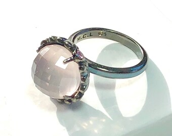 Matthew Campbell Laurenza Sterling Silver Amethyst and Pink Sapphire Ring Size 7