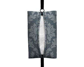 Auto Sneeze - Damask - Visor Tissue Case/Cozy - Car Accessory Automobile - Grey on Grey Floral