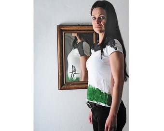 Eco Shirt handpainted in white green and black