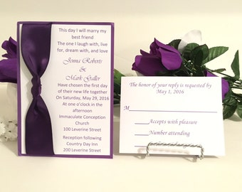 Purple & White Invitation Set With Satin Ribbon Wedding/Birthdays/Holidays