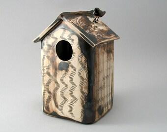 Stoneware Birdhouse-Ceramic Bird House-Pottery Birdhouse-Garden Art-Home and Garden-Bird-Ready to Ship