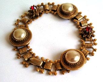 Vintage Coro Bracelet, Brass Links, Red Rhinestones, Faux Pearl Buttons, Very Pretty!