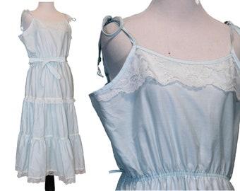 short boho dress • blue peasant dress • sun dress • layered dress • peasant dress • prairie dress • cotton • hippie • Miss Diva • size M L