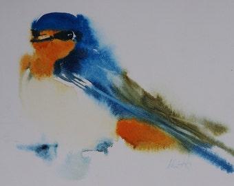 Postcard. Reproduction watercolor bird swallow