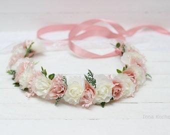 Blush pink ivory rose flower crown Flower girl crown Flower hair wreath Wedding flower crown Floral crown Flower halo Toddler flower crown