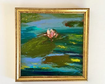One LilyFlower - Original Painting- 9 x 9 approx. inch - including Frame - Fine Art-Pond Lilypond- Fine Art Painting