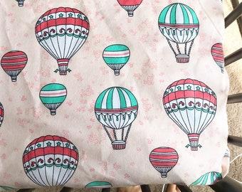 Hot air balloon crib sheet, baby girl, pink