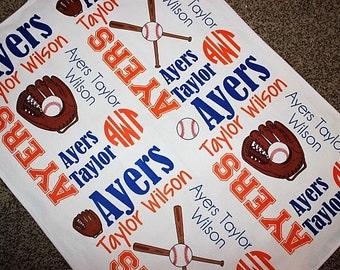 Personalized Baseball Baby Blanket ~ Baseball Blanket ~ Monogram Blanket ~ Sports Blanket ~ Photo Prop ~ Name Blanket