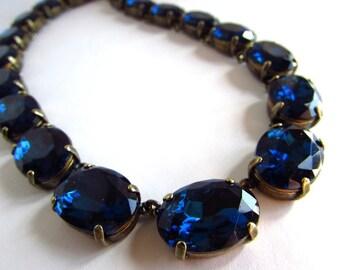 Navy Crystal Necklace, Navy Statement Necklace, Dark Blue Collet Necklace, Navy Anna Wintour Necklace, Dark Blue Rhinestone Necklace, Gold