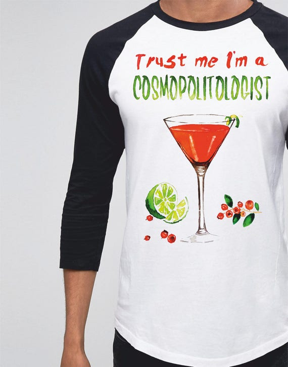Trust me I'm a COSMOPOLITOLOGIST!| Unisex Raglan T-Shirt | 3/4 sleeves | Basketball shirt | Apparel for her / him | Watercolor | ZuskaArt