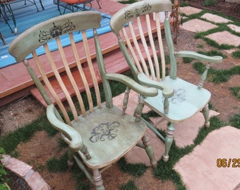 King & Queen Vintage Solid Maple Distressed 1940's green blue Chairs